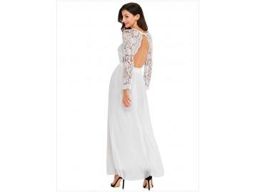 Vestido Longo de Renda Decote V Manga Longa - Branco