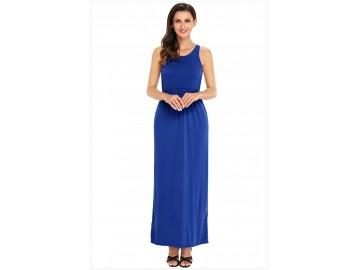 Vestido Longo com Alça e Bolso Lateral - Azul