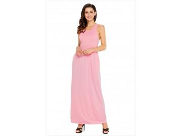 Vestido Longo com Alça e Bolso Lateral - Rosa