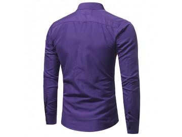 Camisa Masculina Slim Bolso Duplo Manga Longa - Roxo