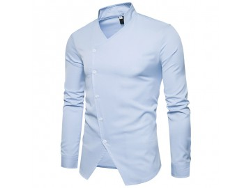Camisa Masculina Slim Assimétrica Gola V Manga Longa - Azul Claro