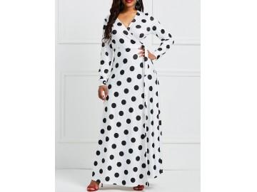 Vestido Longo Polka Dots Manga Longa com Laço - Branco