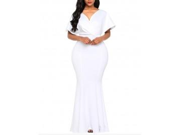 Vestido Longo Elegante com Zíper Decote V Manga Curta - Branco