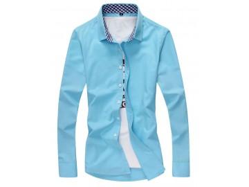 Camisa Masculina Slim Manga Longa - Azul