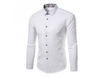 Camisa Masculina Slim Sem Bolso Manga longa - Branco