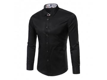 Camisa Masculina Slim Sem Bolso Manga longa - Preto