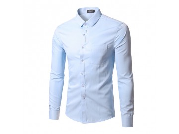 Camisa Social Masculina Slim Manga longa - Azul Claro