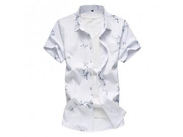 Camisa Masculina Slim Floral Manga Curta - Branco