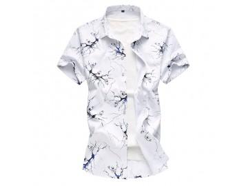 Camisa Masculina Slim Estampada Manga Curta - Azul